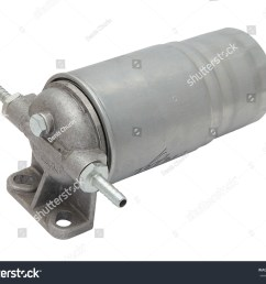 grey metal boat fuel filter with hose inlet and outlet fittings isolated on white [ 1500 x 1242 Pixel ]