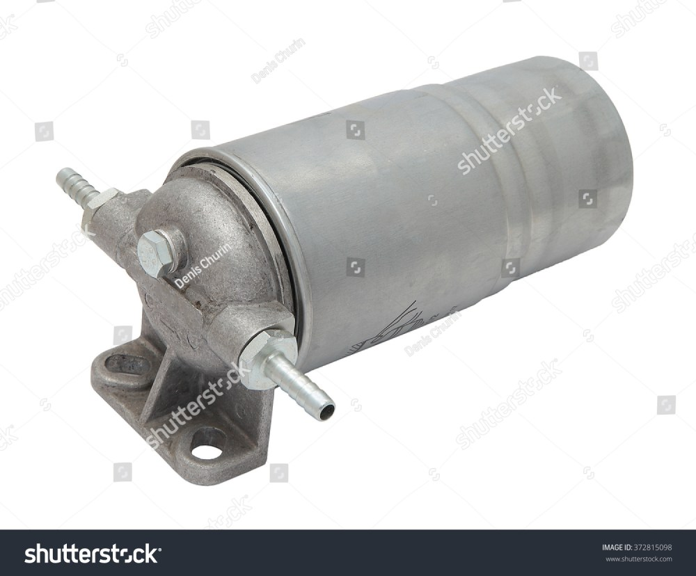 medium resolution of grey metal boat fuel filter with hose inlet and outlet fittings isolated on white