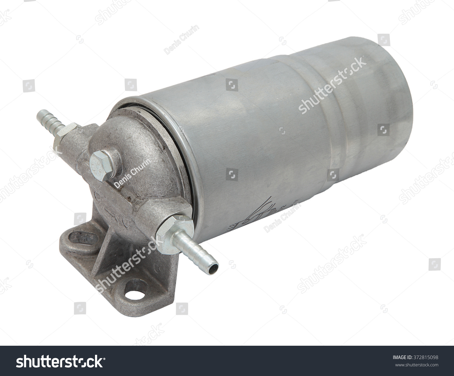 hight resolution of grey metal boat fuel filter with hose inlet and outlet fittings isolated on white