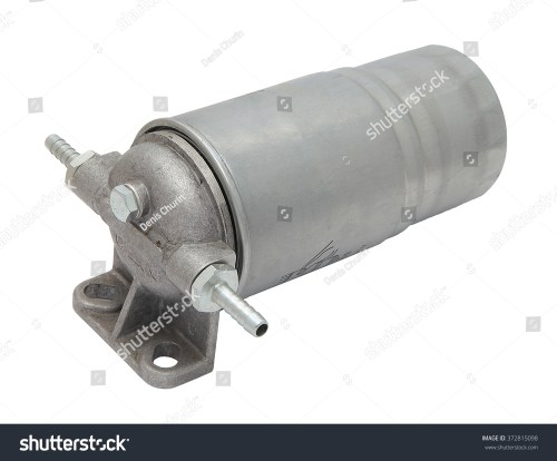small resolution of grey metal boat fuel filter with hose inlet and outlet fittings isolated on white