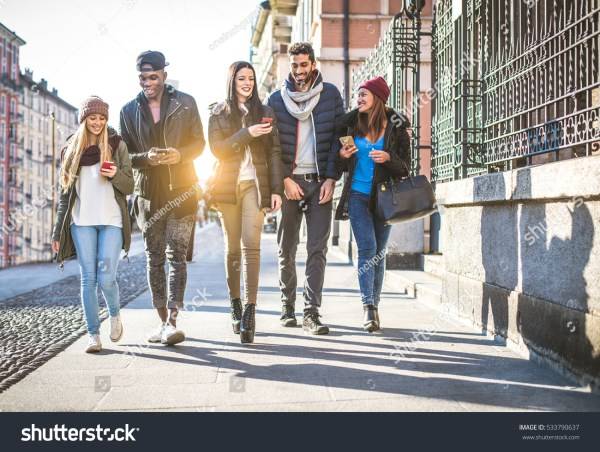 Group Multiethnic Friends Walking Streets Stock 533790637 - Shutterstock