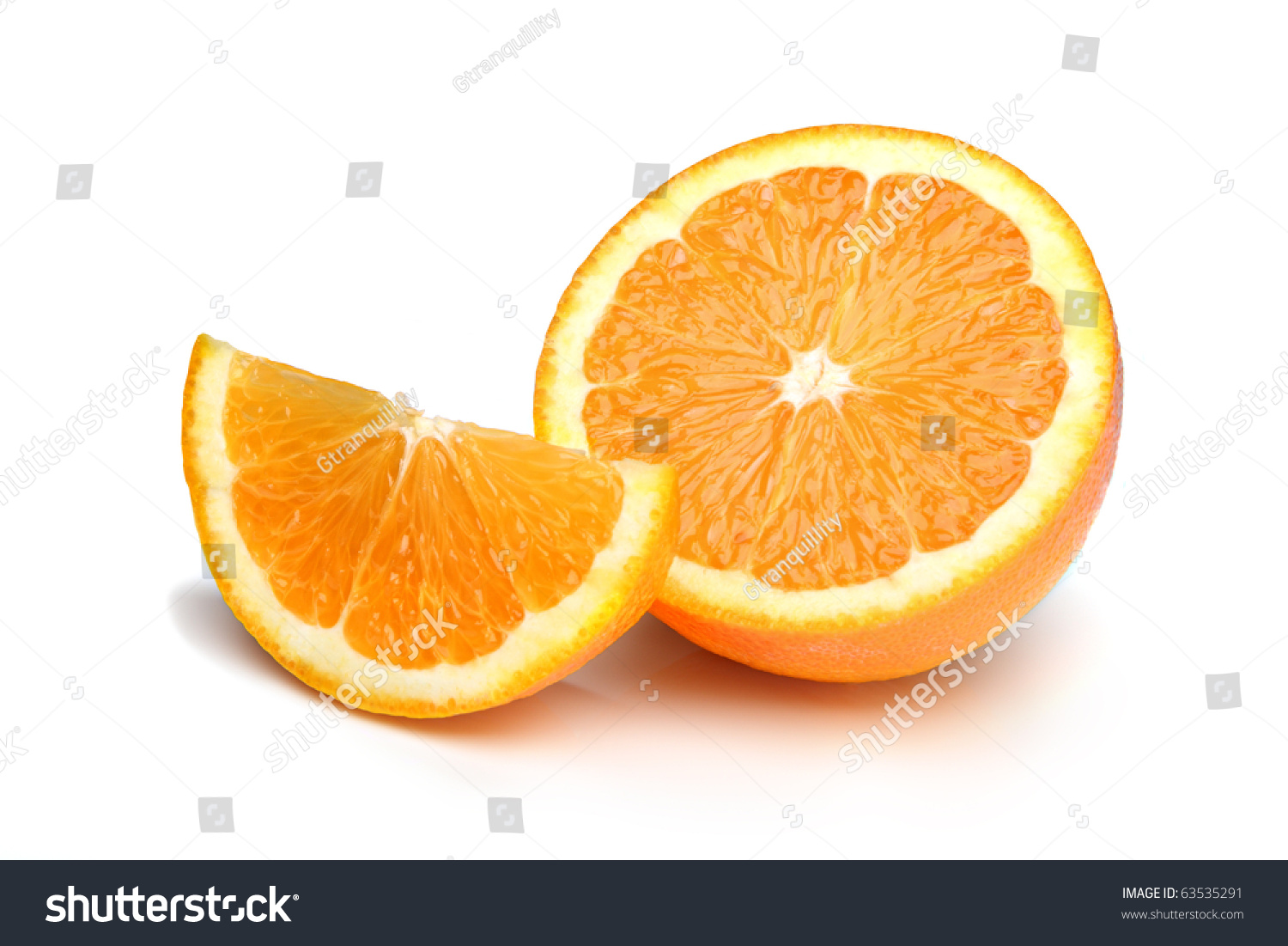 Half An Orange Plus Slice, Isolated On A White Background