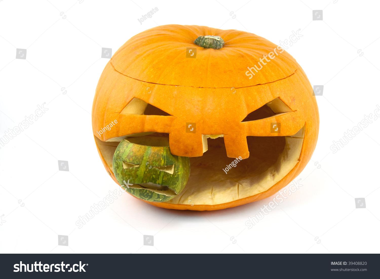 Halloween Pumpkin Eating Up Smaller Pumpkin On White Stock Photo 39408820 : Shutterstock