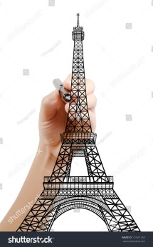 Hand Drawing Eiffel Tower Line Paris Stock Illustration