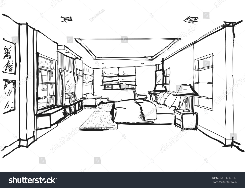 Hand Drawing Interior Design Modern Bedroom Stock Illustration 366665717