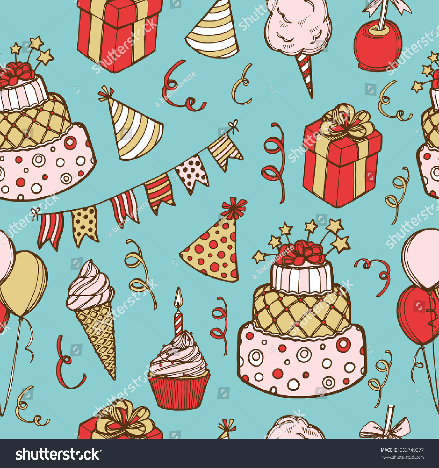 Hand Drawn Birthday Seamless Pattern Birthday Cake