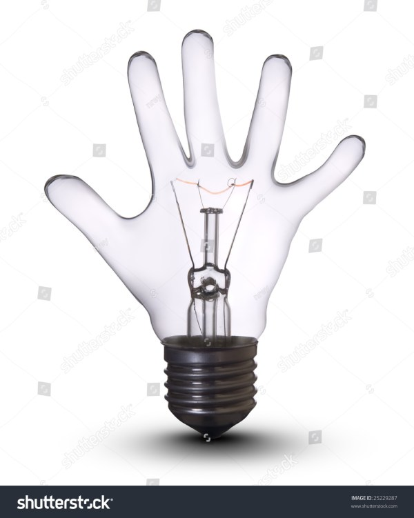Hand Lamp Bulb Lightbulb Concept Business Stock Photo