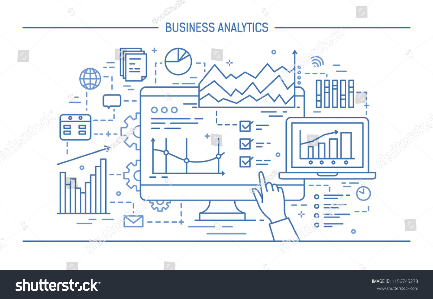 hight resolution of hand pointing at computer screen or display with various diagrams charts and graphs concept