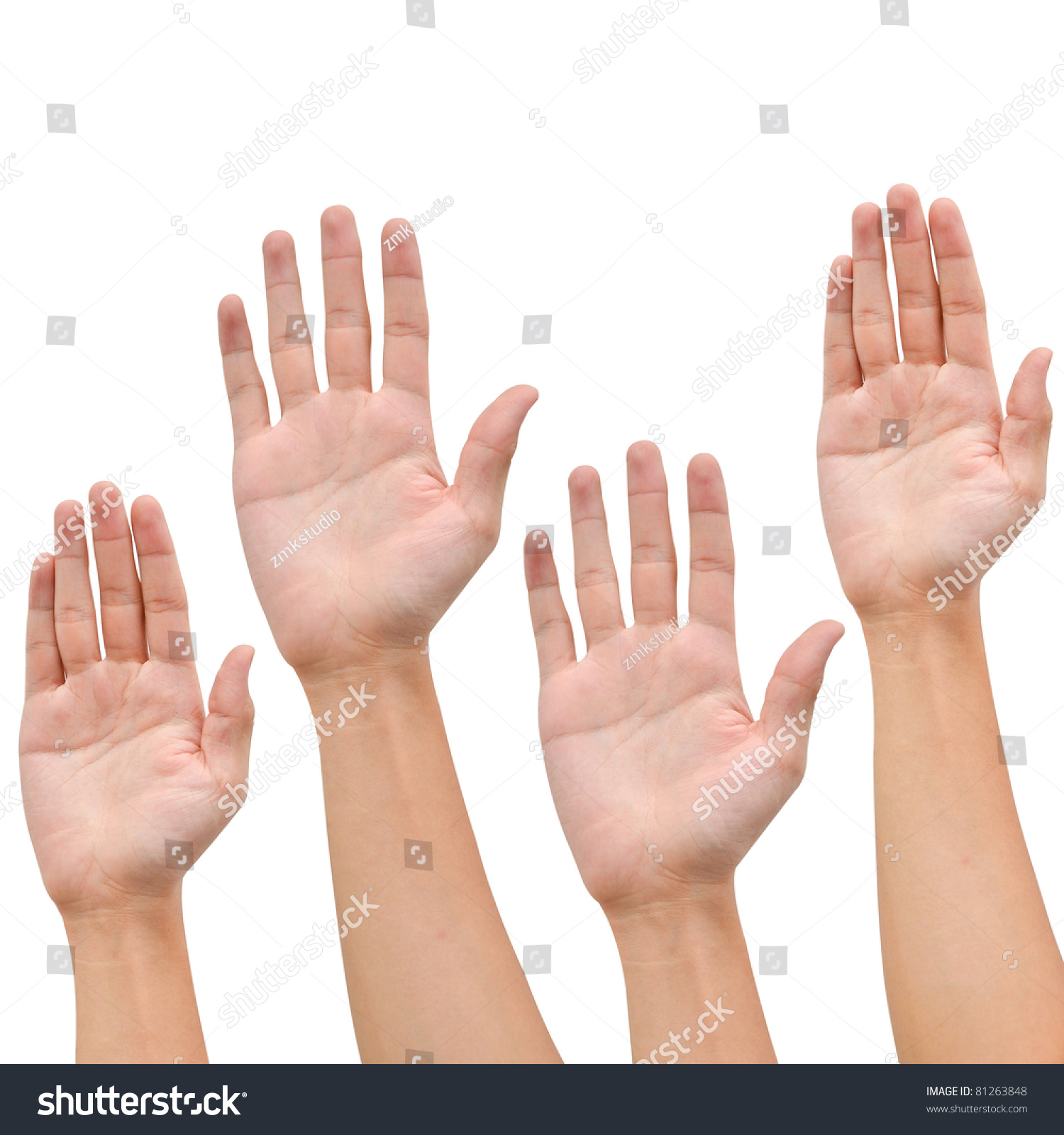 Hand Raise Up On White Background ,Business Concept Stock Photo 81263848 : Shutterstock