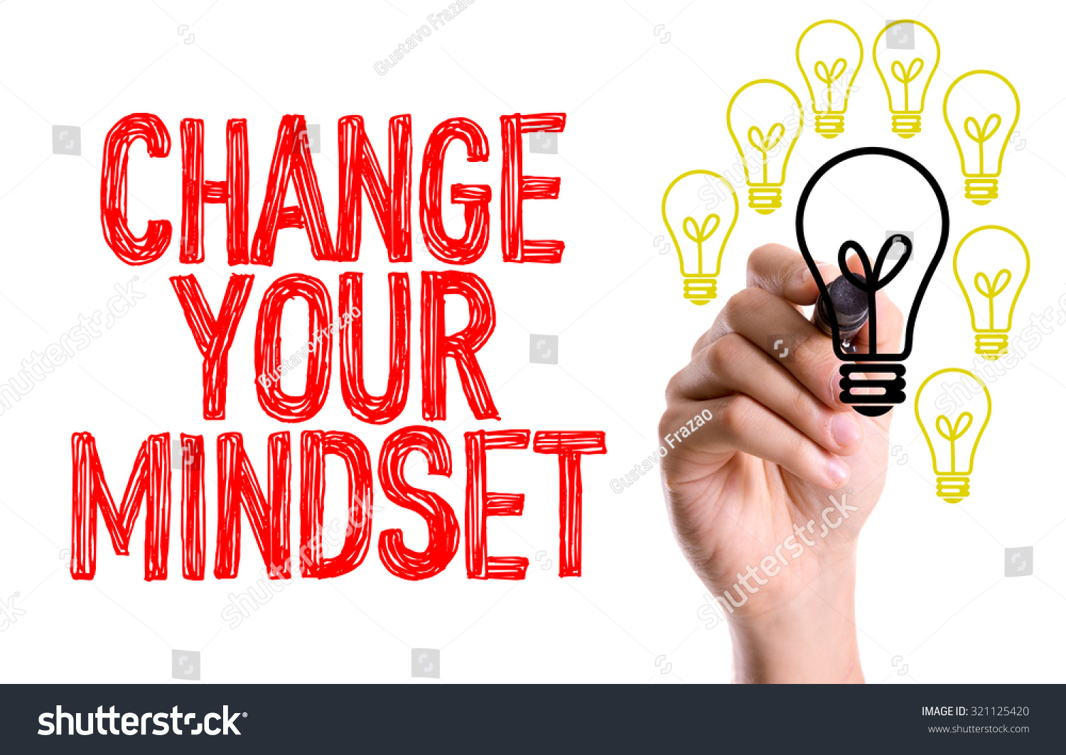 Hand With Marker Writing Change Your Mindset Stock Photo