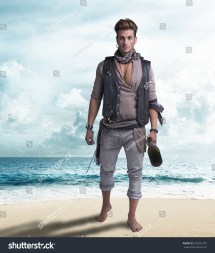 Handsome Young Pirate Beach Barefoot Holding Wine