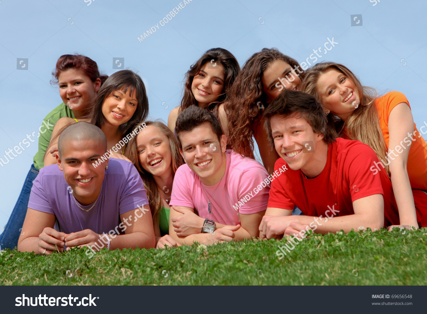 Happy Smiling Diverse Race Group Teenagers Stock Photo