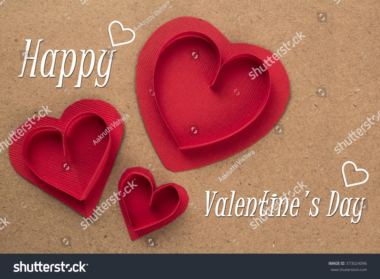 Happy Valentines Day Heart Shapes Stock Photo