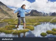 Happy Woman Walking Barefoot Pond Stock