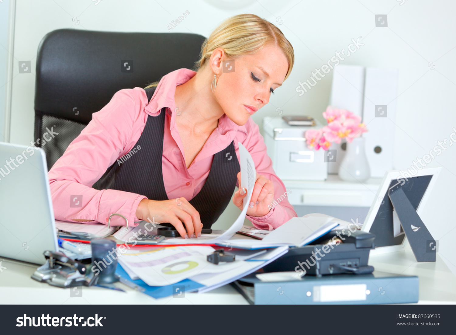 Hard Working On Documents Business Woman Stock Photo 87660535 : Shutterstock