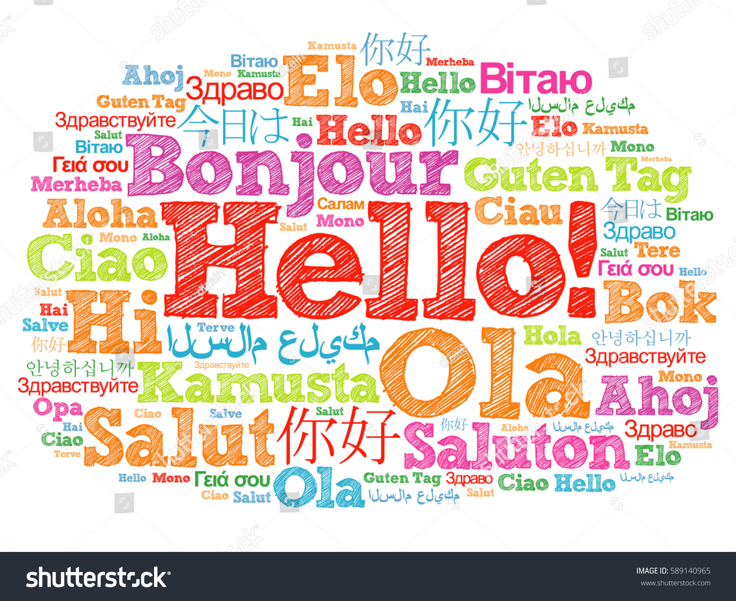 Hello Word Cloud Different Languages World Stock