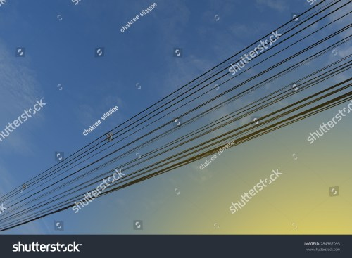 small resolution of high voltage cables and phone lines head down through the blue sky to send electricity