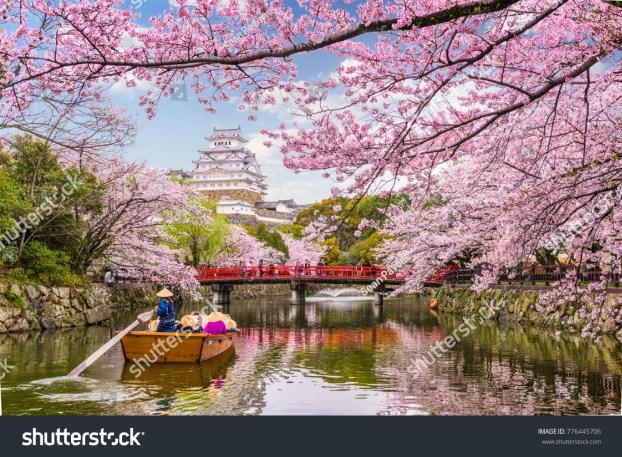 日本の姫路市が春の姫路城です。