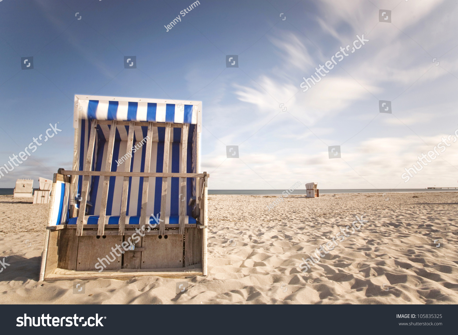 Long Beach Chair Hooded Beach Chair At A Beach On The Baltic Sea Coast