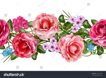 horizontal border flower floral pattern roses seamless flowers delicate garland camellia leaves shutterstock isolated