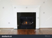 Horizontal Photo Of A Natural Gas Fireplace With A White ...