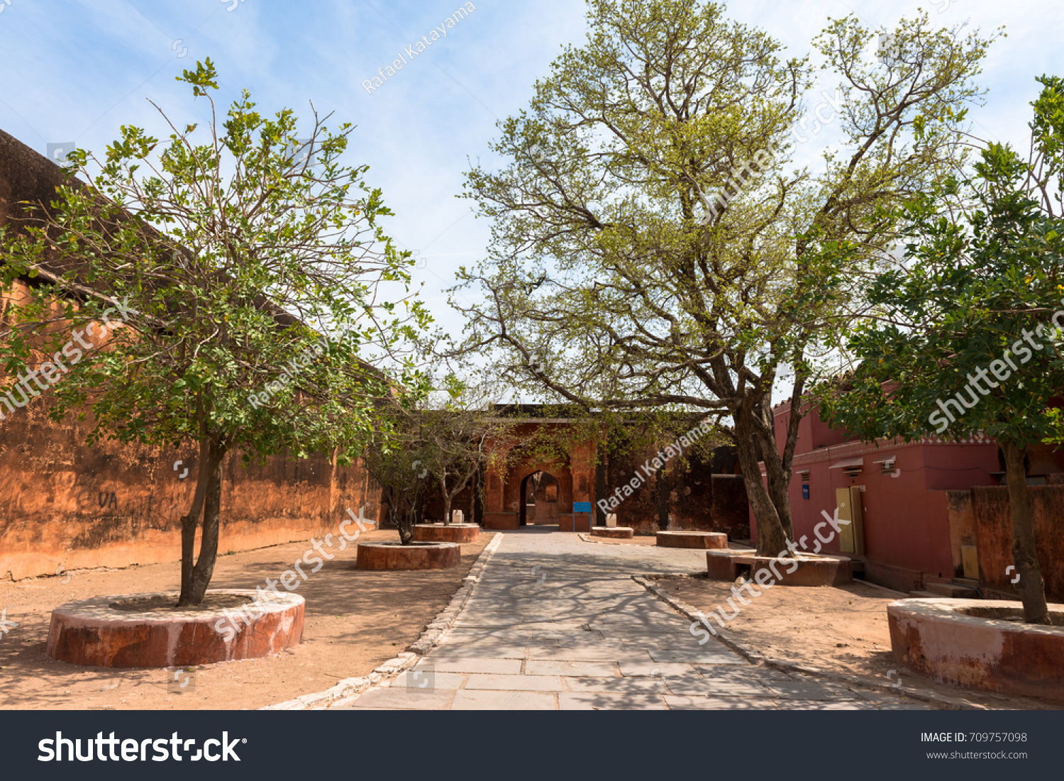 Horizontal Picture Courtyard Trees Jaigarh Fort Royalty