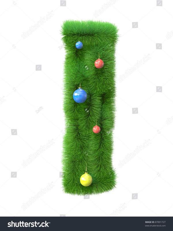 I Letter Made Of Christmas Tree Branches Isolated On White ...