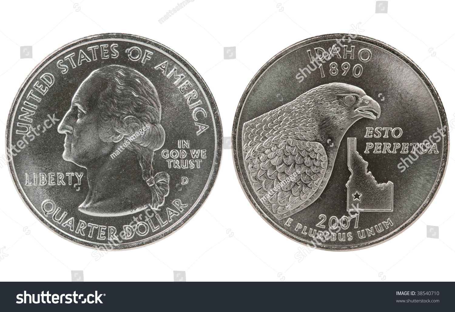Idaho State Quarter Coin Both Sides Front And Back Heads And Tails Obverse And Reverse