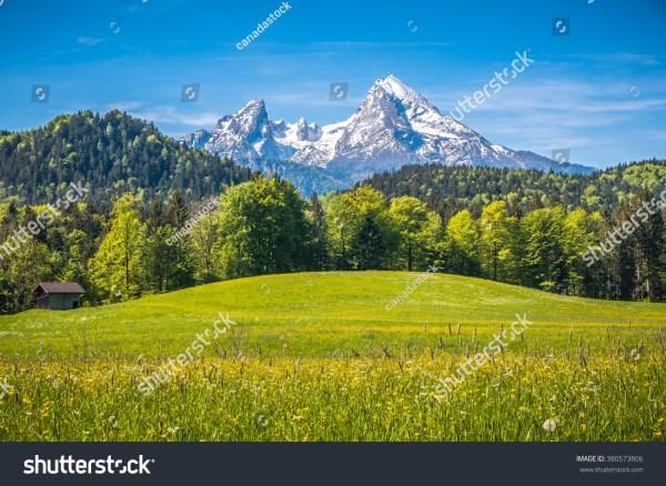 idyllic landscape alps fresh green