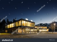 Illuminated Modern Wooden Office Building Night Stock ...