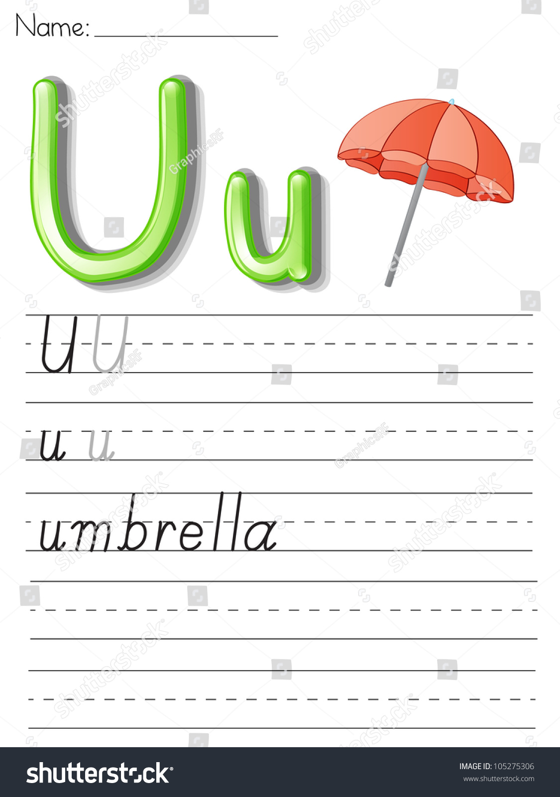 Illustrated Alphabet Worksheet Letter U Stock Illustration