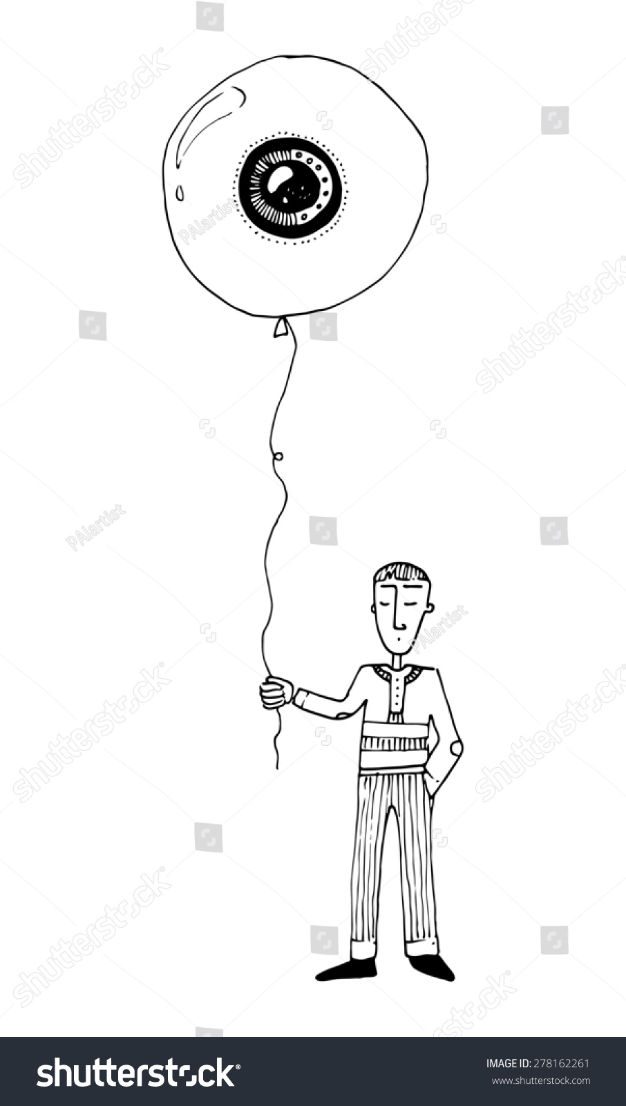 hight resolution of illustration boy with a balloon eye shape simple drawing children