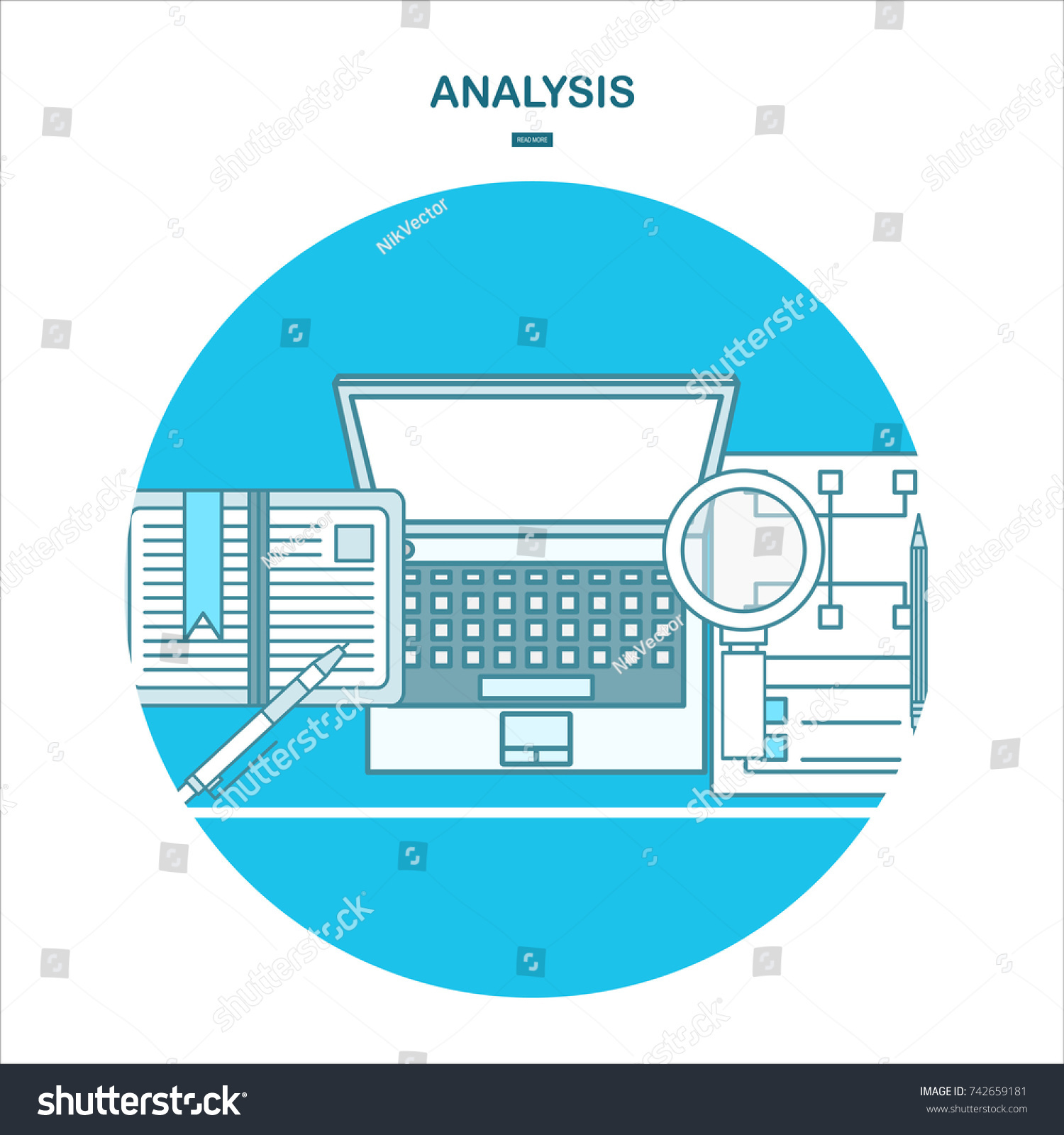 Illustration Concept For Business Analysis, Market Research, Data Analysis.line  Design Template For