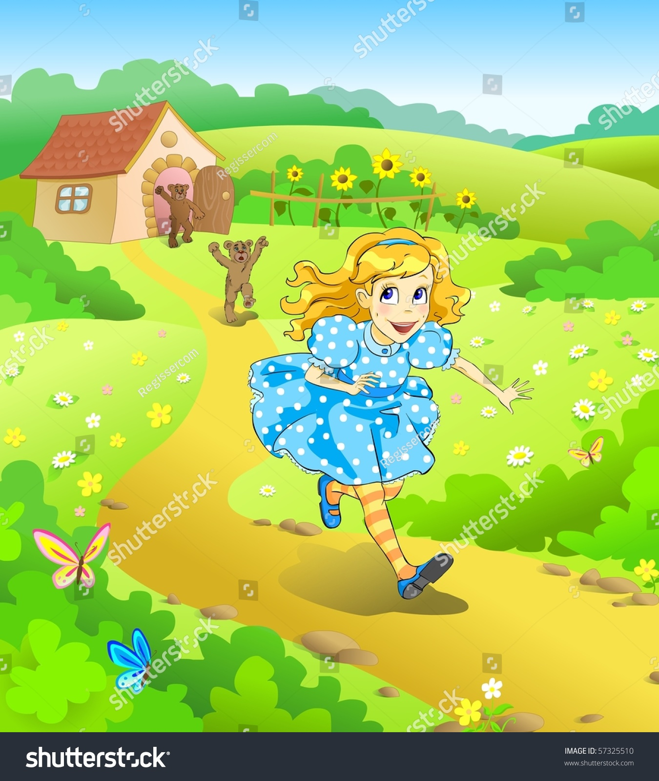 Illustration For Tale Three Bears Little Girl Run Away