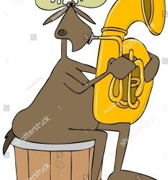 illustration of a bull moose sitting on a half barrel and playing a brass tuba  [ 1065 x 1600 Pixel ]