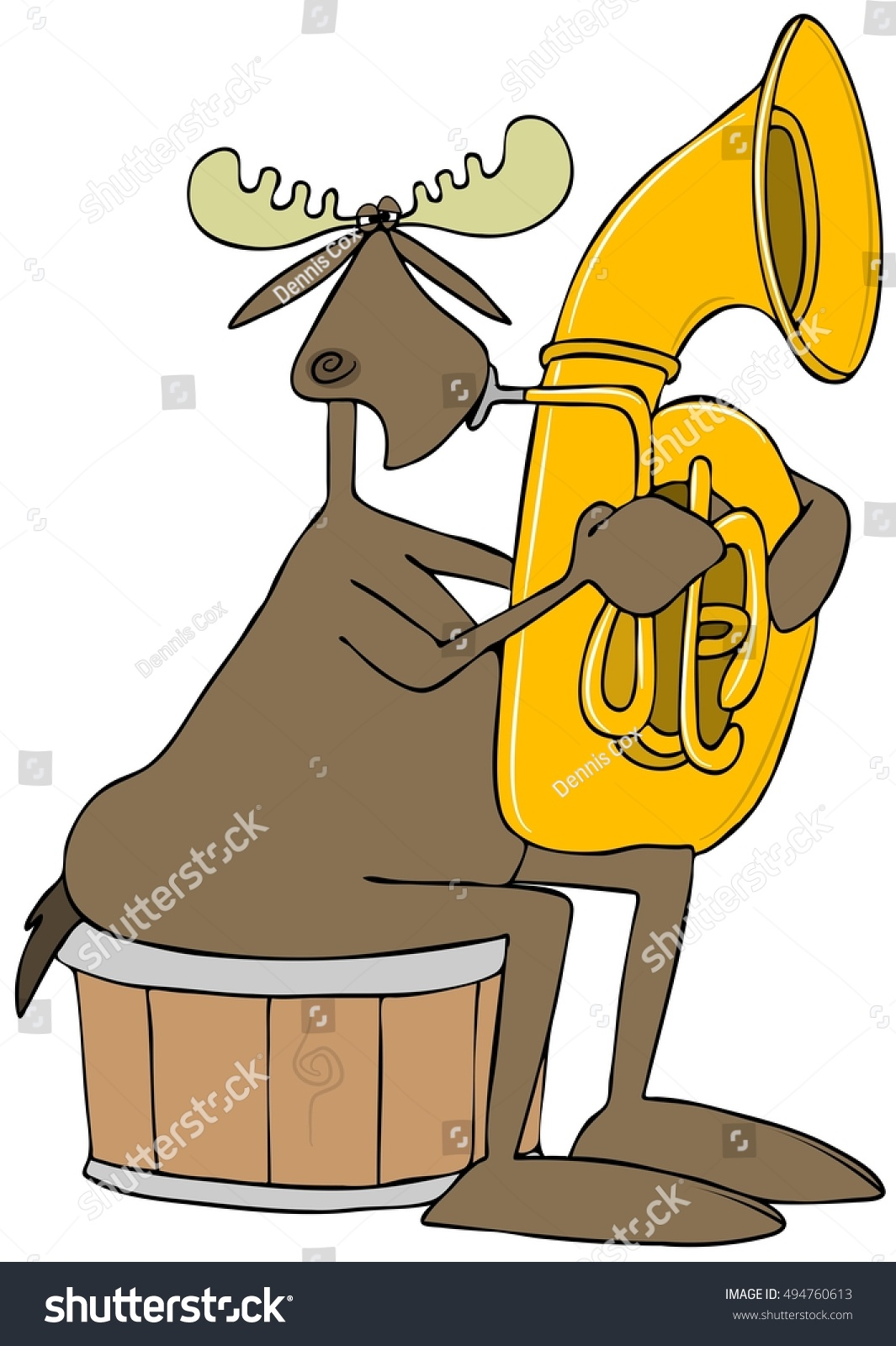 hight resolution of illustration of a bull moose sitting on a half barrel and playing a brass tuba