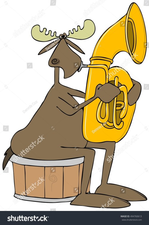 small resolution of illustration of a bull moose sitting on a half barrel and playing a brass tuba