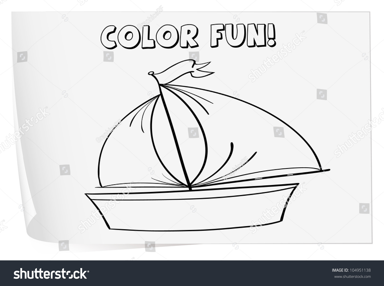 Illustration Of A Colouring Worksheet Boat