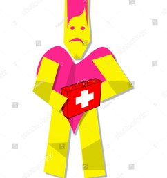illustration of heart man clipart with first aid kit [ 1200 x 1600 Pixel ]
