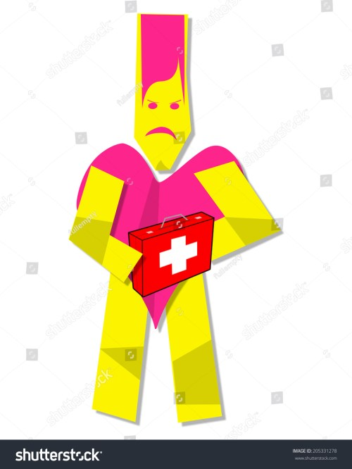 small resolution of illustration of heart man clipart with first aid kit