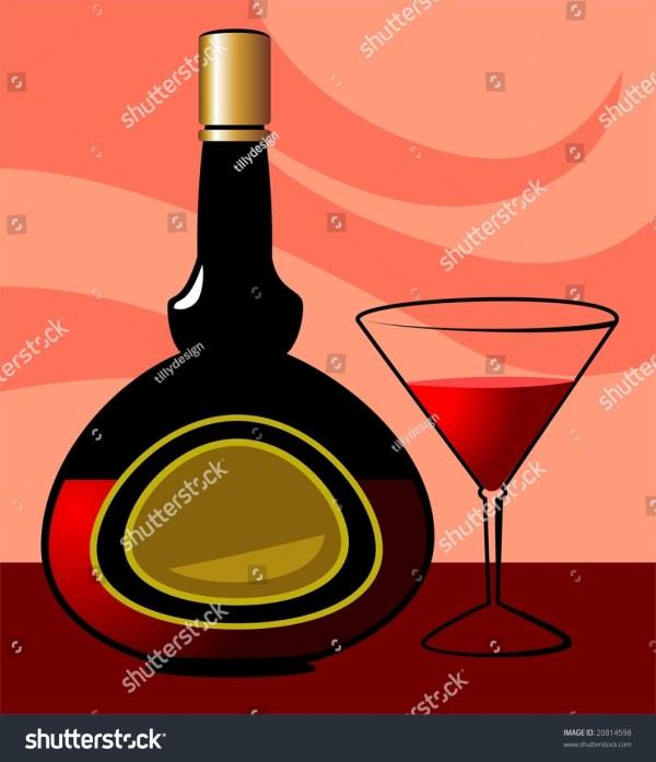 Illustration Of Liquor Bottle And Goblet Wine