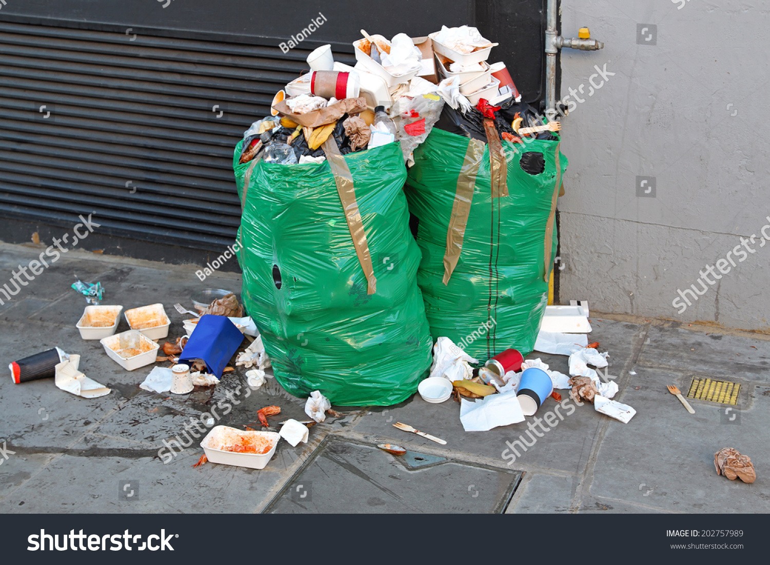 Improperly Disposed Bags Of Litter Waste Stock Photo 202757989 : Shutterstock