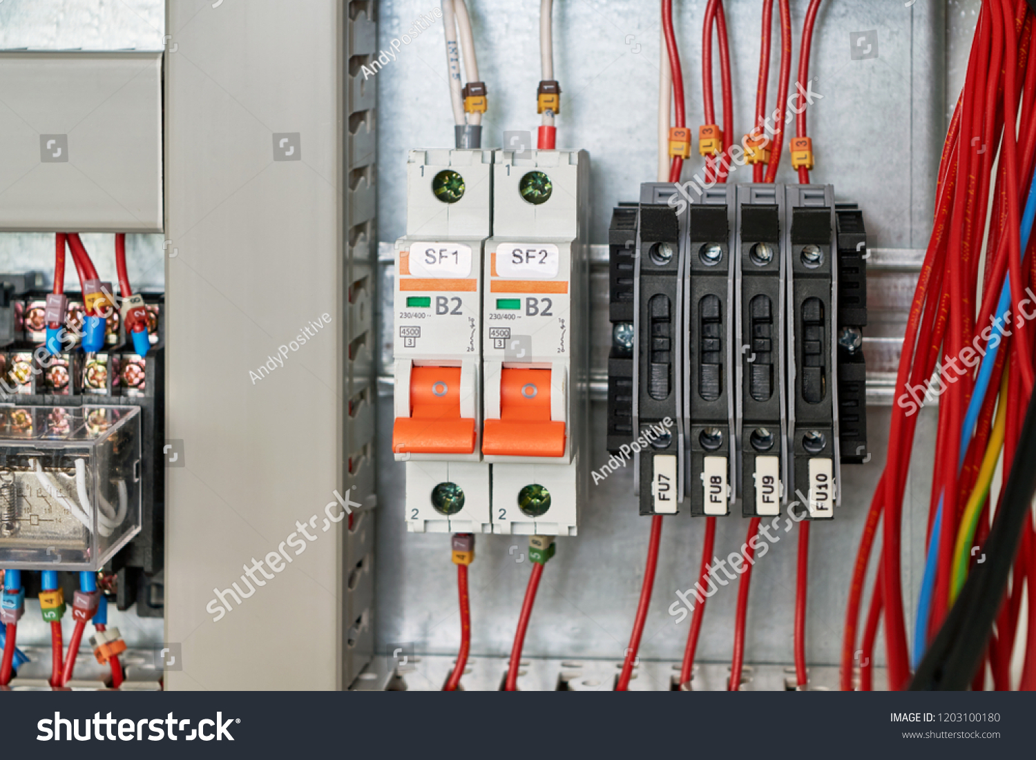 hight resolution of in the electrical cabinet circuit breakers and fuse holders intermediate relay cable channel for wiring modern electrical equipment for the safe