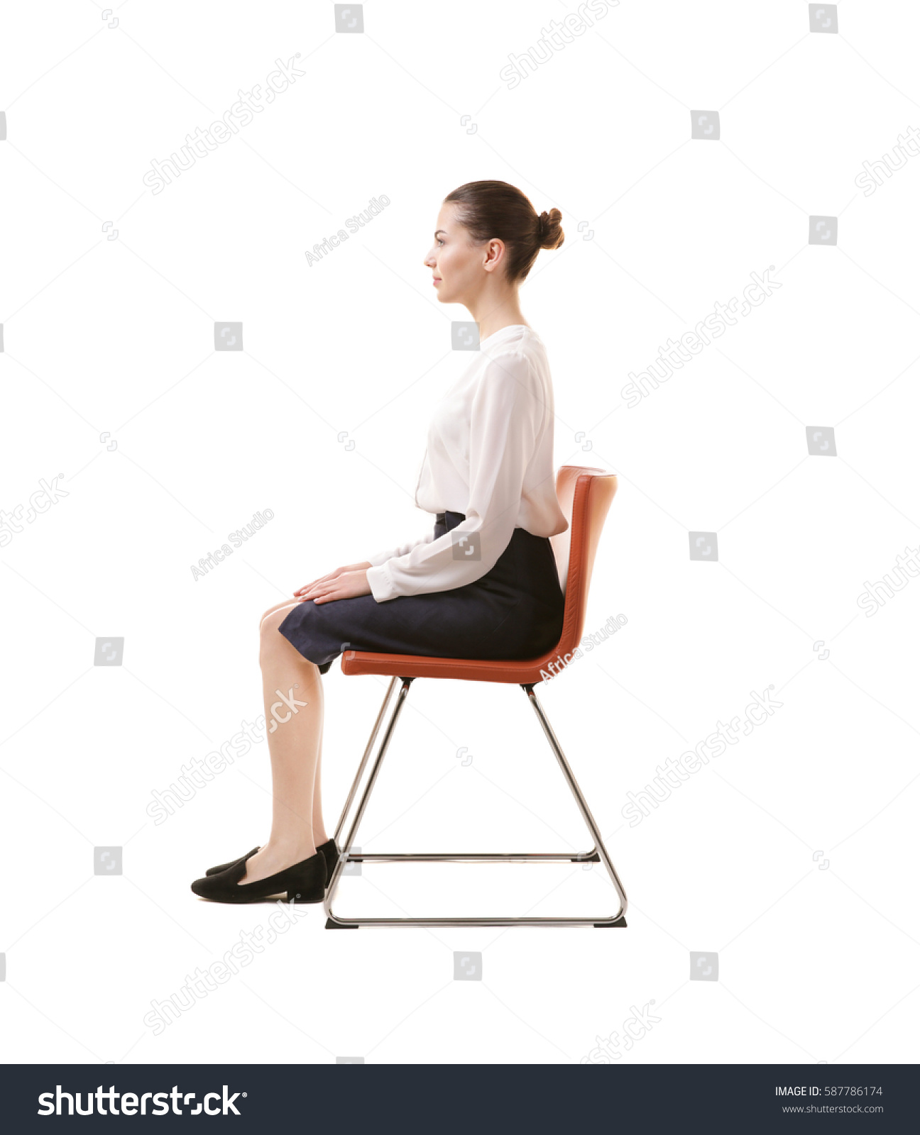posture chair sitting memory foam bean bag reviews incorrect concept young woman stock photo
