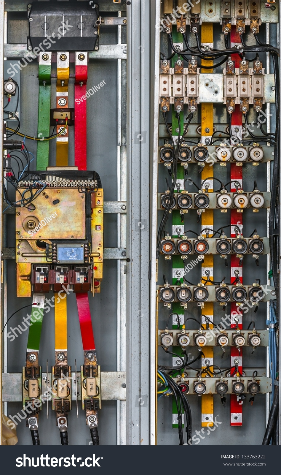 hight resolution of industrial fuse box on the wall closeup photo