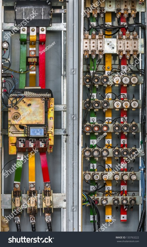 small resolution of industrial fuse box on the wall closeup photo