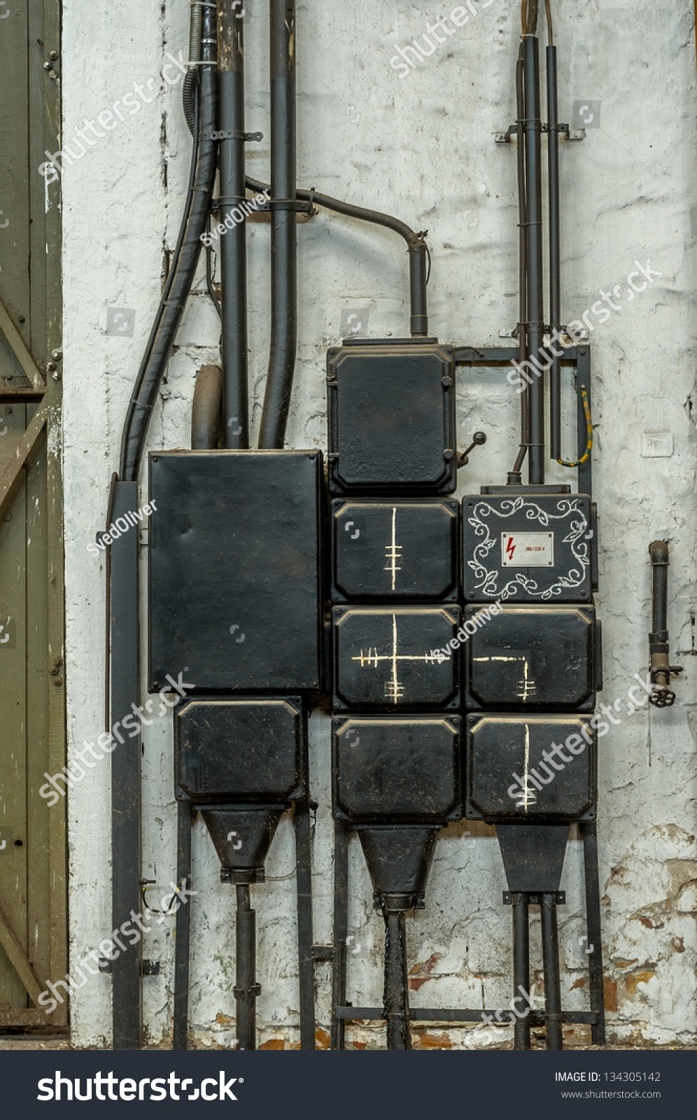medium resolution of industrial fuse box on the wall closeup photo