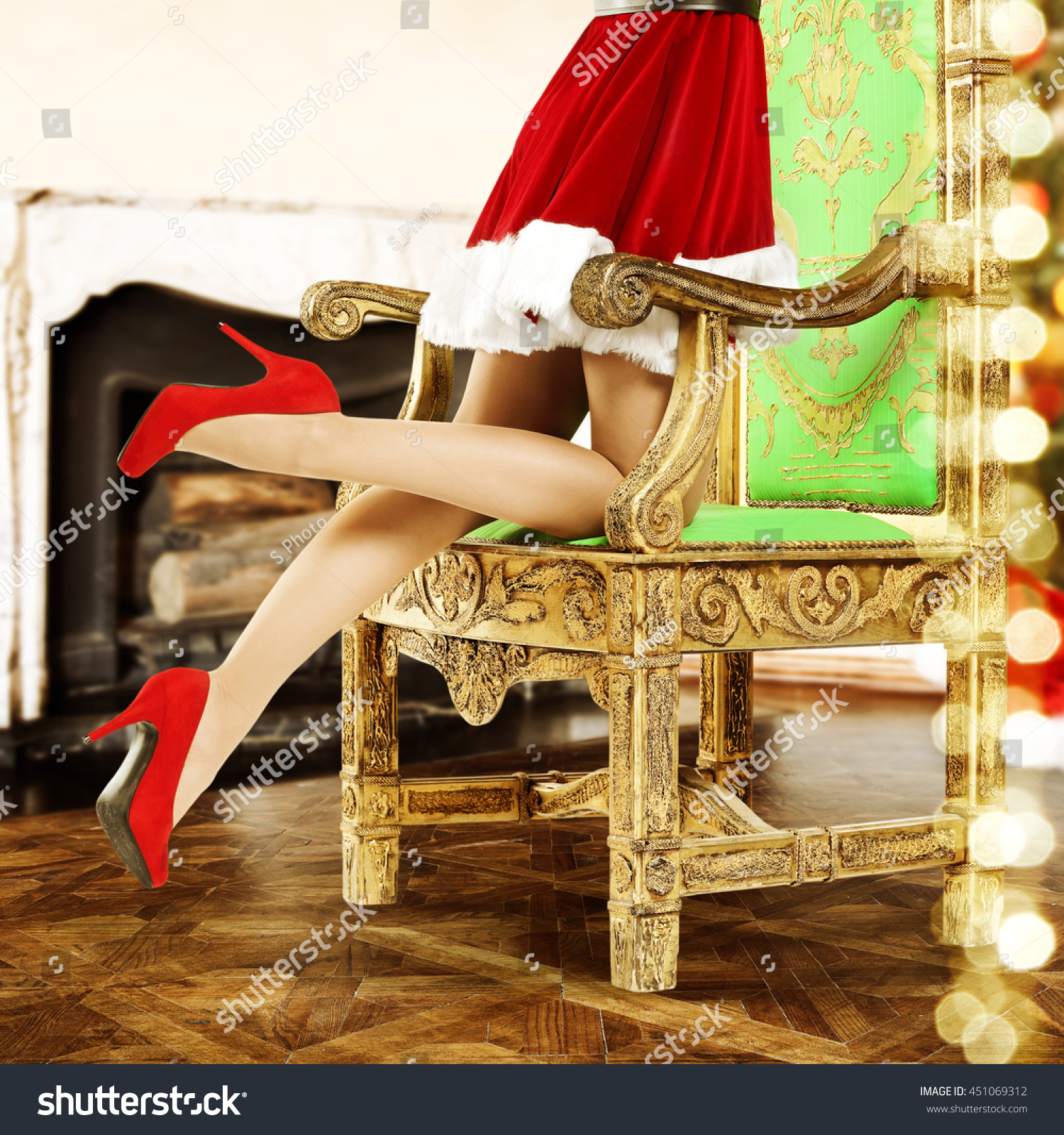 red heel chair eames style office chairs interior with golden of santa claus and heels
