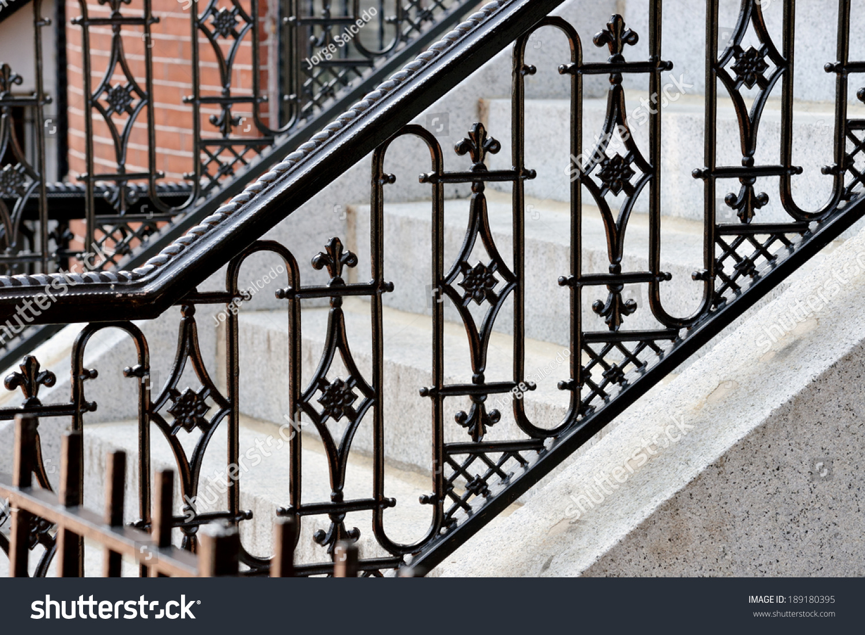Iron Railing Doorsteps Classic Handrail Side Stock Photo