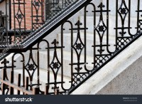 Iron Railing Doorsteps Classic Handrail Side Stock Photo